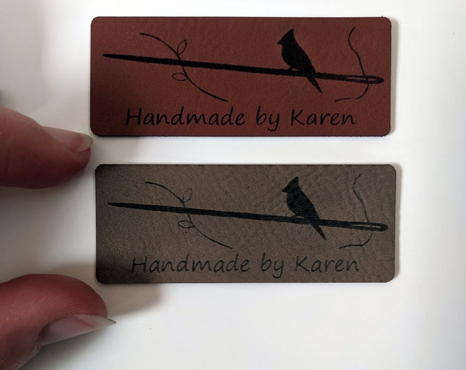 "Custom clothes tags - laser engraved on soft leatherette ""vegan leather"". Your name and design label to sew onto your creations! 10 tags."