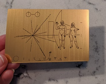 NASA Pioneer plaque sticker - Laser engraved. Great for decorating your laptop, notebook etc.