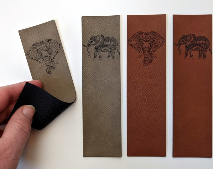 Elephant leatherette bookmark - laser engraved on soft, vegan leather. Handmade in Australia.