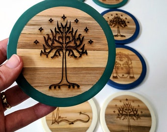 Tolkien coaster set of four bamboo coasters with dipped wax edges, laser engraved. 3 colours to choose from! Lord of the Rings, The Hobbit