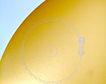 Clearance sale! Slightly scratched, Full size metal replica of NASA Voyager Golden Record cover, laser engraved on aluminium