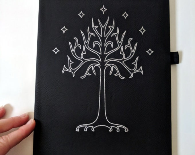 Tolkien Notebook / Journal - The Tree of Gondor laser engraved on leatherette, lined paper with pen holder and satin bookmark. LotR Hobbit