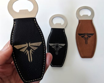 TLOU Fireflies Symbol Bottle Opener, Can be customised! Laser engraved on leatherette. Magnetic bottle opener, personalised gift
