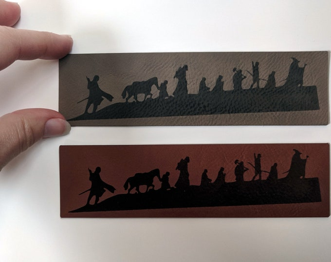 The Fellowship of the Ring silhouette leatherette bookmark - laser engraved. Handmade in Australia