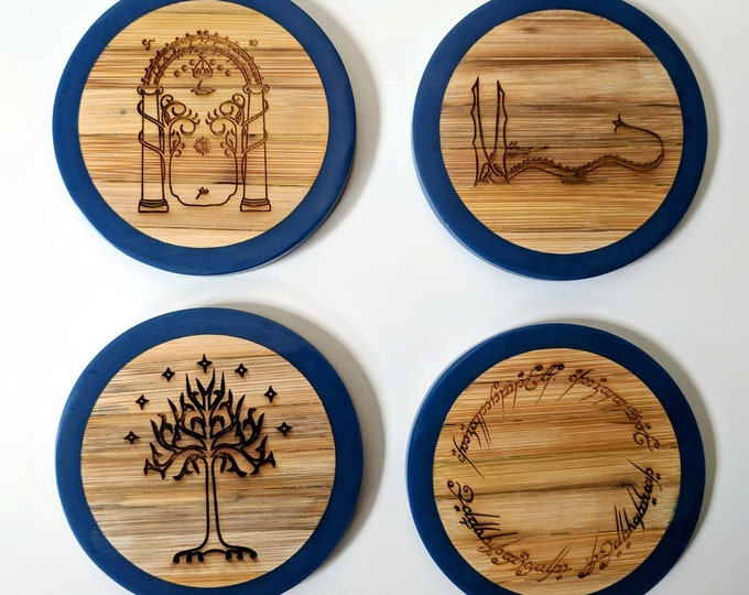 Tolkien coaster set - Lord of the Rings and The Hobbit - set of four bamboo and wax coasters, laser engraved. 3 colours to choose from!