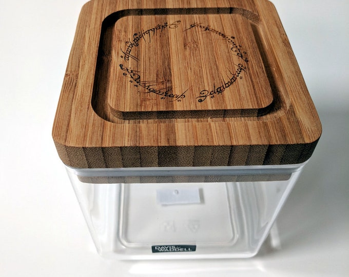 Tolkien clear acrylic box, with bamboo lid laser engraved with The One Ring inscription. Great for pantry items, rings and precious  items..