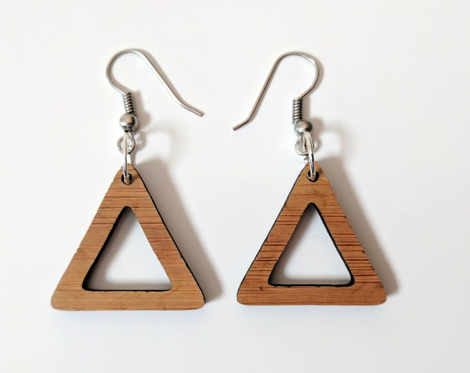 Laser cut drop earrings, triangles. Hand made from bamboo.
