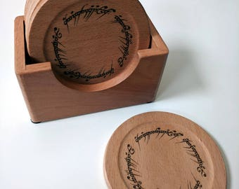 Tolkien coaster set of 6 solid wood coasters in a box, The One Ring inscription in Elvish laser engraved on each coaster.