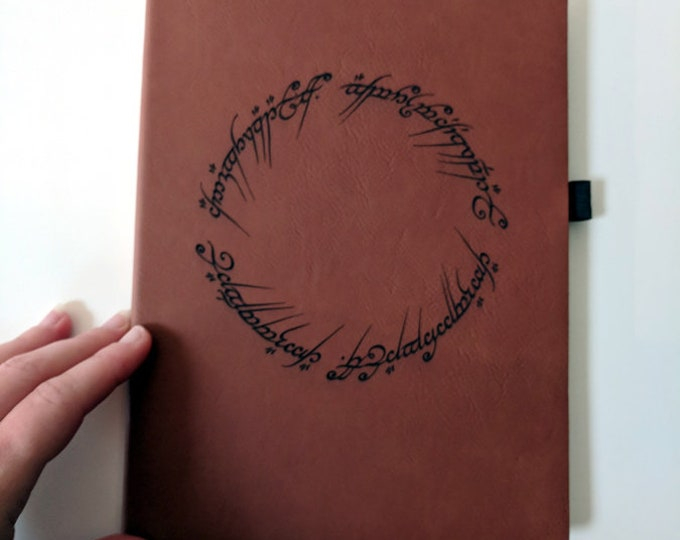 Tolkien Notebook / Journal - The One Ring laser engraved on leatherette, lined paper with pen holder and satin bookmark. LotR Hobbit diary