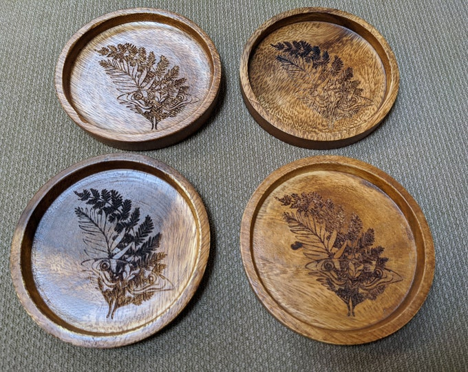 Ellie's Tattoo wood coasters - set of four acacia wood coasters, laser engraved.