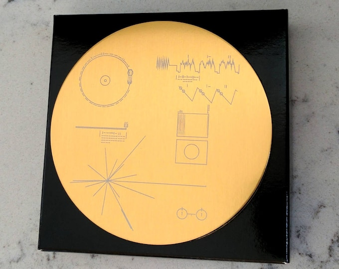 NASA Voyager Golden Record - Set of four/six coasters, exquisitely laser engraved on aluminium. Comes in a black gift box.