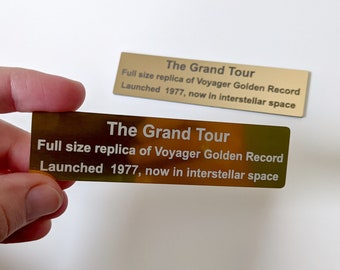 Custom plaque to accompany replica of NASA Voyager Golden Record cover, laser engraved placard on anodised aluminium or golden laminate