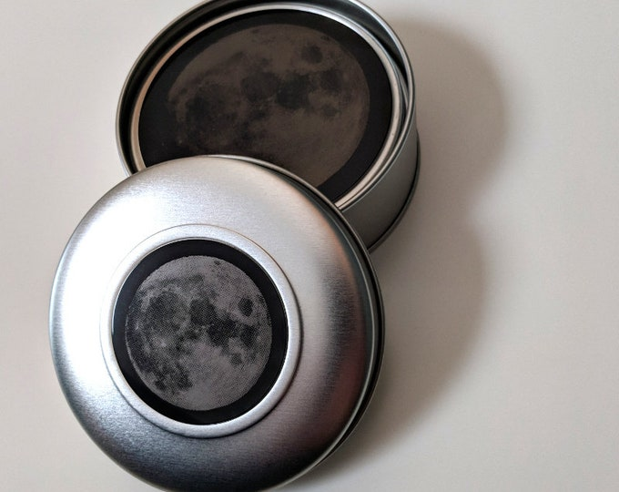 Full Moon- Set of four laser engraved coasters in metal gift box.