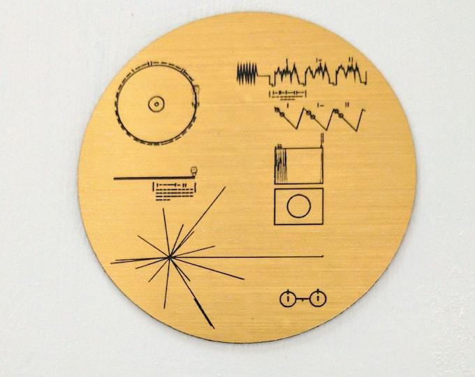 NASA Voyager Golden Record magnet, golden metallic laser engraved fridge magnet.