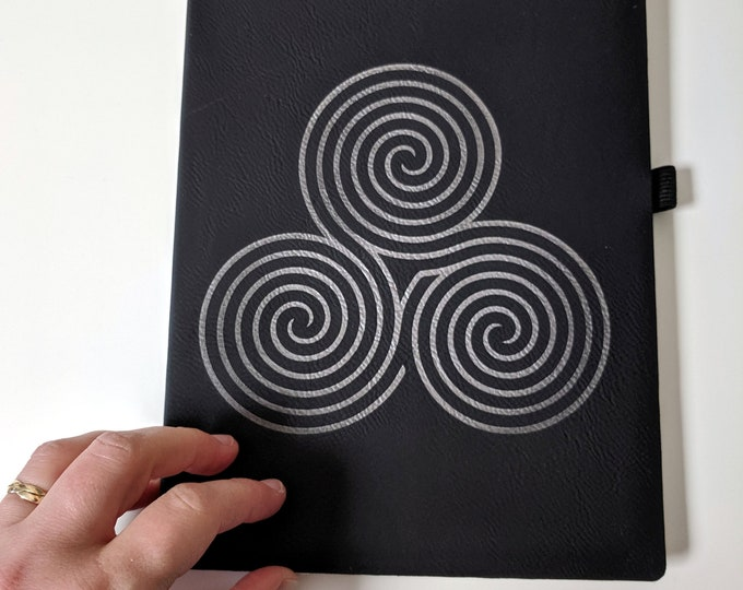 Triple Labyrinth Notebook / Journal laser engraved on leatherette. Travel journal / diary. Vegan leather lined notebook with satin bookmark