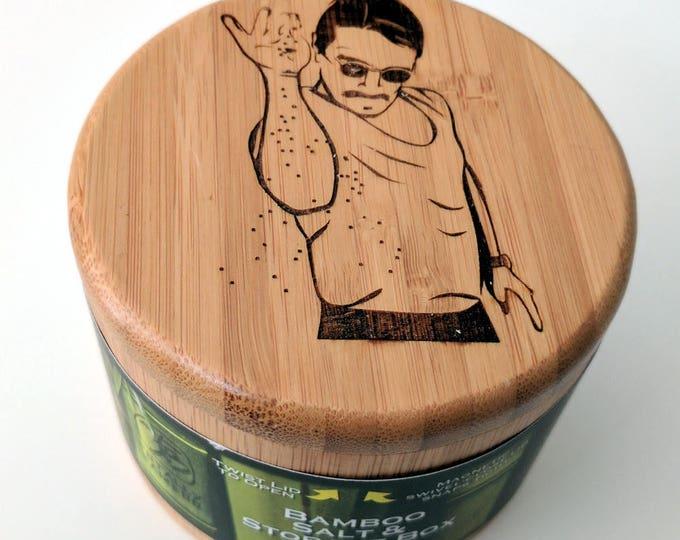 Salt Bae Bamboo Salt Box #saltbae laser engraved salt box. Swivel top wooden box for salt or spices.