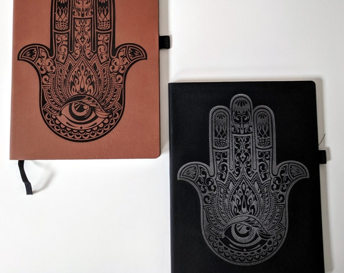 HAMSA Notebook / Journal laser engraved on leatherette. Travel journal / diary. Middle Eastern traditional symbol of protection