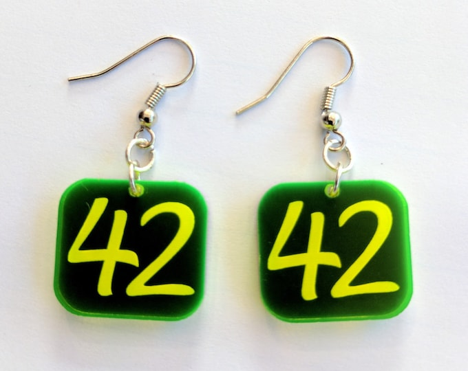42 Earrings - The Answer to the Question of Life, the Universe, and Everything, laser engraved