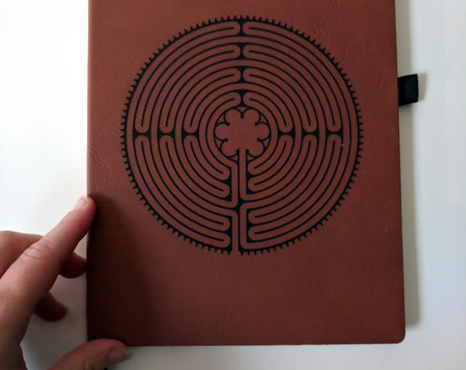 Labyrinth Notebook / Journal laser engraved on leatherette. Travel journal / diary.  Notre-Dame de Chartres Cathedral labyrinth.