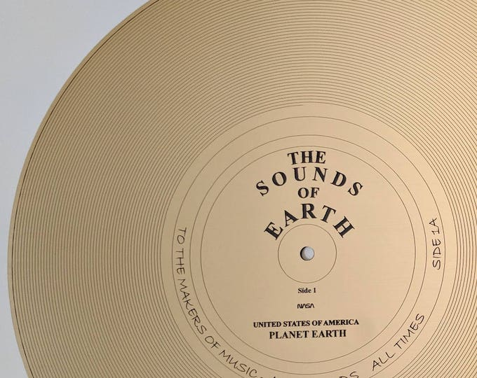 """The Sounds of Earth - Full size replica of NASA Voyager Golden Record """"Side 1A"""" - laser engraved on metal or golden metallic laminate."""