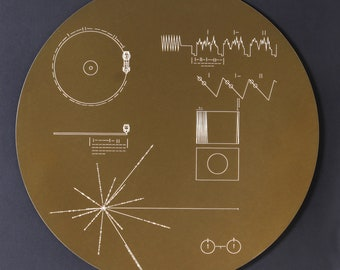 Full size metal replica of NASA Voyager Golden Record cover, laser engraved on aluminium. Celebrate the Voyager missions!