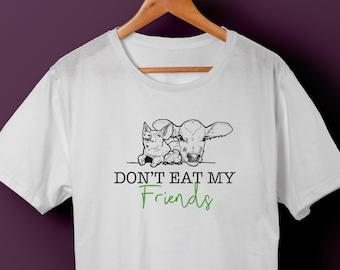 f9a142b7 Unisex, Don't eat my friends, vegetarian T-Shirt, vegan tshirt, go green  shirt, dont eat meat tee, gift for vegan, gift for vegetarian