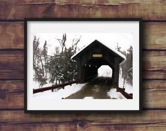 Gold Brook Covered Bridge in Stowe, Vermont Digital Art Print