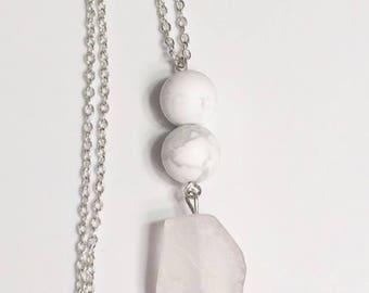 Frosted White Quartz pendant necklace