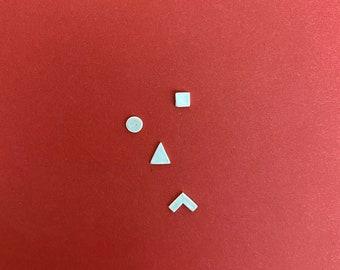 Triangle Pointy Square Circle silver stud earrings / asymmetrical / cute small dainty / stud earring set / modern minimalist / SONE