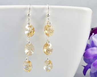 Gold Swarovski Earrings, Golden Shadow Crystal and Sterling Silver Earrings, Champagne Bridal Jewelry