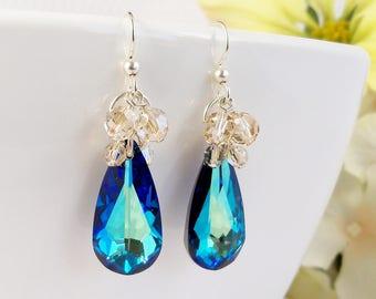 Bermuda Blue Swarovski Crystal Earrings, Blue Crystal Teardrop with Golden Shadow & Sterling Silver, Handmade Ocean Blue Green Earrings