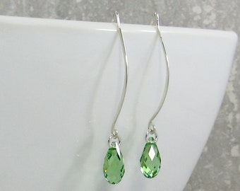Green Crystal Teardrop Earrings c81118495f93