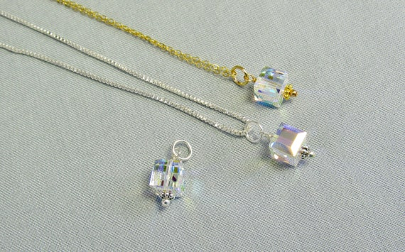Aurora Borealis Sterling Silver Delicate Square Necklace With Swarovski Crystals