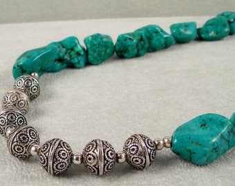 Turquoise & Bali Sterling Silver Necklace, Chunky Turquoise Necklace, Blue Green Large Stone Nugget Jewelry