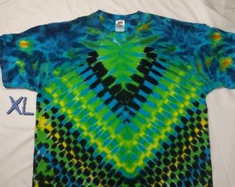 XL Blue Green DNA V Style Tie Dye Shirt