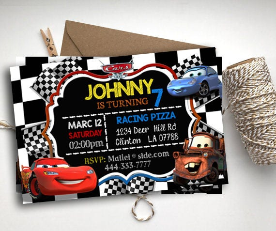 Cars Invitations Chalkboard Lightning McQueen Birthday