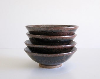 Four Small Tenmoku Pottery Bowls (Second--has minor imperfections)