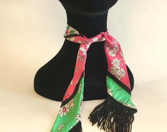 Pink & green bandana flowers Sun has fringed black scarf woman/chic/fashion/gift idea
