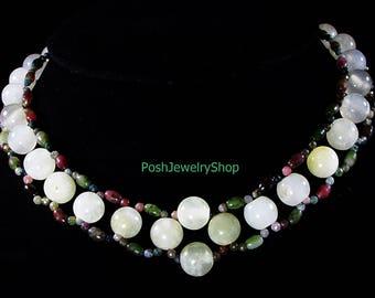 Ultrafashionable White Jade and Tourmaline Necklace