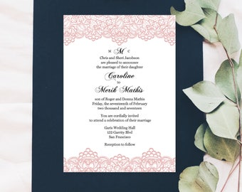 Lace Wedding Invitation Printable, Wedding Invitation Template, Blush Wedding Invite, PDF Instant Download, Editable Wedding Invite, I03