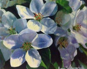 Apple blossom stars  Original oil painting Gift Home decor oil painting Wall Art oil painting  white yellow green Oil Fine ART