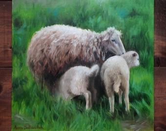 Nursing  Original  oil painting Gift Home decor landscape sheep lambs oil painting Wall Art oil painting gray green Animal Oil Fine ART