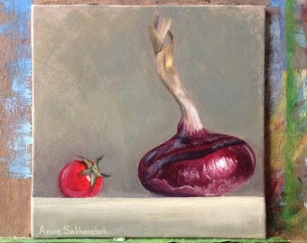 Red onion with a pearl tomato Original oil painting Gift Home decor still life  oil painting Wall Art oil painting  purple  Oil Fine ART
