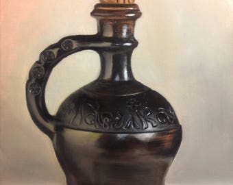 Harelka jug Original oil painting Gift Home decor still life oil painting Wall Art oil painting brown black gray Oil  Fine ART