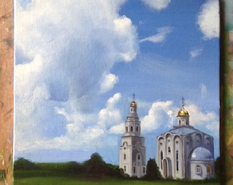 Country church Original  oil painting Gift Home decor still life oil painting Wall Art oil painting blue gray green Oil Fine ART
