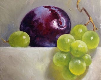 Plum and grapes Original oil painting Gift Home decor still life  oil painting Wall Art oil painting  purple yellow green  Oil Fine ART