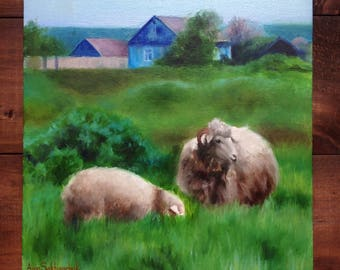 Father Ram Original  oil painting Gift Home decor landscape sheep lambs oil painting Wall Art oil painting gray green Animal Oil Fine ART