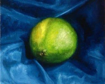 Lime on blue  Original oil painting Gift Home decor oil painting Wall Art oil painting  blue yellow green Oil Fine ART
