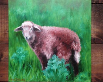 Red lamb Original  oil painting Gift Home decor landscape sheep lamb oil painting Wall Art oil painting brown  green Animal Oil Fine ART