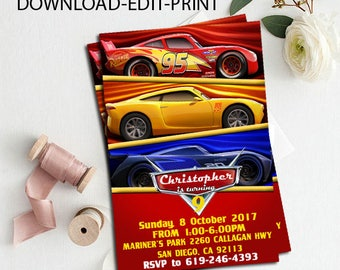Cars Invitations, Cars Chalkboard, Cars 3 Birthday Invitation, Cars Party Favors, Cars Birthday, McQueen Invitation,  Cars editable pdf